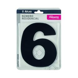 Número Residencial Preto com Adesivo - Nº6 Primafer - Santec