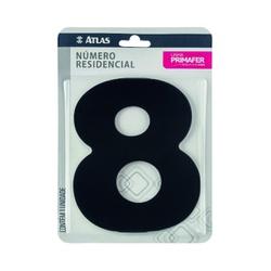 Número Residencial Preto com Adesivo - Nº8 Primafer - Santec