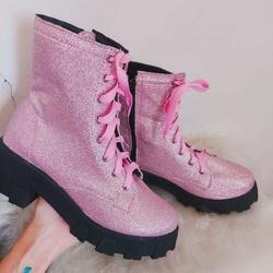 Coturno Glitter Rosa com Ziper - SANTACROW