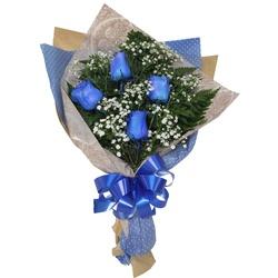 Ramalhete Azul 4 Rosas - São José Floricultura