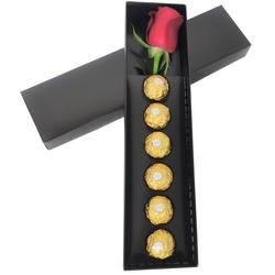 caixa preta com rosa e seis bombons ferrero rocher