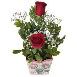 Arranjo floral com duas rosas vermelhas