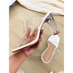 Salto Cristal Reto Branco Novo - EAS040 - Talline Sapatilhas Atacado