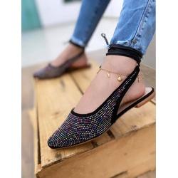 Chanel Preta com Pedras Coloridas - MAN017 - Talline Sapatilhas Atacado