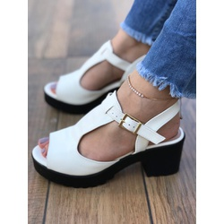 Sandalia Branca com Solado Tratorado - COD713 - Talline Sapatilhas Atacado