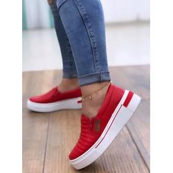 Slip On Vermelho com Costura