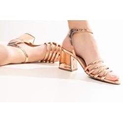 Sandália Cobre Salto Bloco - TIE302 - Talline Sapatilhas Atacado