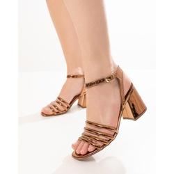 Sandália Bronze Salto Bloco - TIE303 - Talline Sapatilhas Atacado