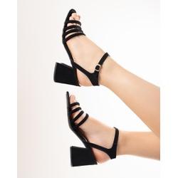 Sandália Preta Salto Bloco - TIE304 - Talline Sapatilhas Atacado