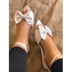 Sandália Branca com Laço - EAS043 - Talline Sapatilhas Atacado