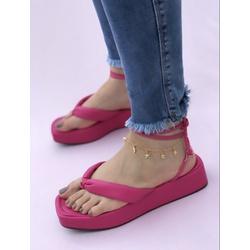 Flatform Pink Fluffy Tiras - TLC036 - Talline Sapatilhas Atacado