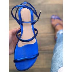 Rasteira De Amarrar Azul Tiras Em X - TIE109 - Talline Sapatilhas Atacado
