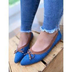 Sapatilha Jeans com borda Caramelo