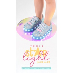 Tênis Infantil WorldColors Star Light com LED