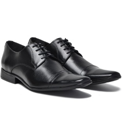 Sapato Social em Couro Cor Preto Ref. 1425-1009 - Sapatos de Franca