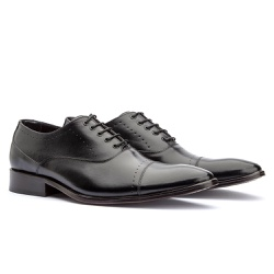 Sapato Oxford Masculino em Couro Preto - Sapatos de Franca