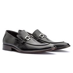 Sapato Loafer Masculino com Fivela em Couro Preto - Sapatos de Franca