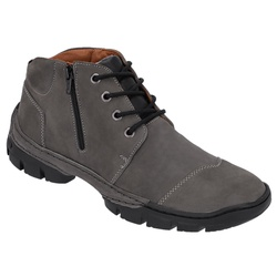 Coturno Masculino Conforto em Couro cor Cinza Ref.... - Sapatos de Franca