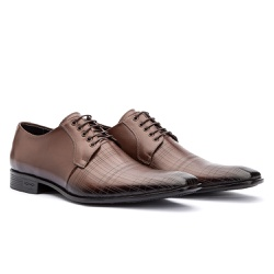 Sapato Social Masculino Com Estampa à Laser - Sapatos de Franca