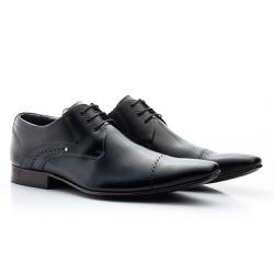 Sapato Social Clássico em Couro cor Preto Ref.1480... - Sapatos de Franca