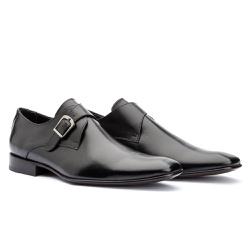 Sapato Monk Strap Masculino em Couro Preto - Sapatos de Franca