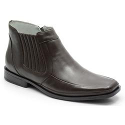Botina Conforto Em Couro Cor Cafe Ref. 595-1052 - Sapatos de Franca