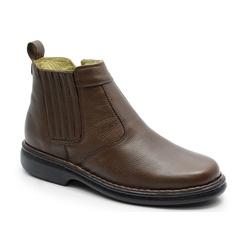 Botina Conforto Em Couro Cor Chocolate Ref. 589-69 - Sapatos de Franca