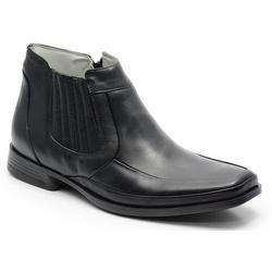 Botina Conforto Em Couro Na Cor Preta Ref. 596-105 - Sapatos de Franca