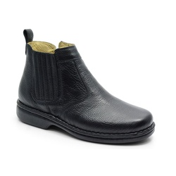Botina Conforto Em Couro Preto Ref. 590-690 - Sapatos de Franca