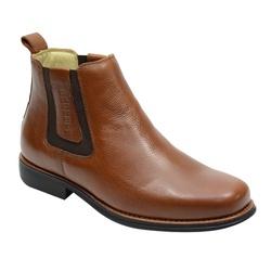 Botina Gel Confort Country Em Couro Cor Whisky Ref... - Sapatos de Franca