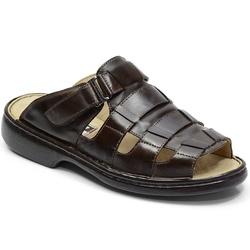 Chinelo Conforto Em Couro Cor Café-718-3025 - Sapatos de Franca