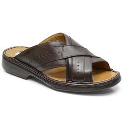 Chinelo Conforto Em Couro Cor Café Ref. 616-3005 - Sapatos de Franca