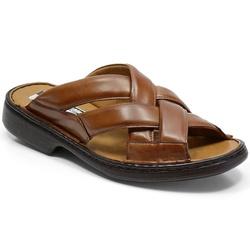 Chinelo Conforto Em Couro Cor Whisky-649-3055 - Sapatos de Franca