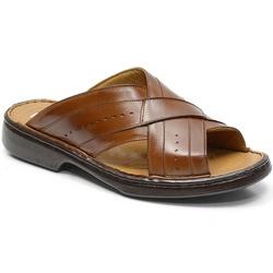 Chinelo Conforto Em Couro Cor Whisky Ref. 615-3005 - Sapatos de Franca