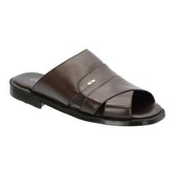 Chinelo Masculino Em Couro Cor Café Ref.1398-s011 - Sapatos de Franca
