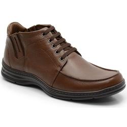 Coturno Confort Em Couro Na Cor Chocolate Ref. 594... - Sapatos de Franca