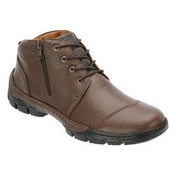 Coturno Conforto Em Couro Cor Café Ref.1299-2015 - Sapatos de Franca