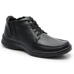 Coturno Conforto Em Couro Preto Ref. 586-2093 - Sapatos de Franca
