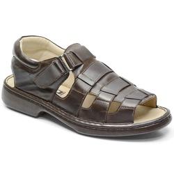 Sandália Conforto Em Couro Cor Café Ref. 619-3015 - Sapatos de Franca