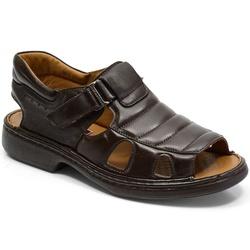 Sandália Conforto Em Couro Cor Café Ref. 648-3000 - Sapatos de Franca