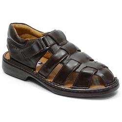Sandália Conforto Em Couro Cor Café Ref. 719-3040 - Sapatos de Franca
