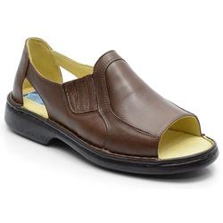 Sandália Conforto Em Couro Cor Marrom Ref. 585-651 - Sapatos de Franca