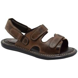 Sandália Conforto Em Couro Cor Pinhão-457-100 - Sapatos de Franca