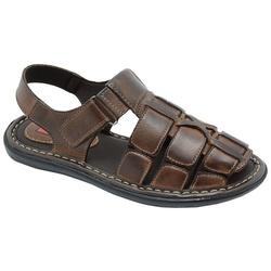 Sandália Conforto Em Couro Cor Pinhão-460-502 - Sapatos de Franca