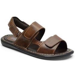 Sandália Conforto Em Couro Cor Pinhão-606-150 - Sapatos de Franca
