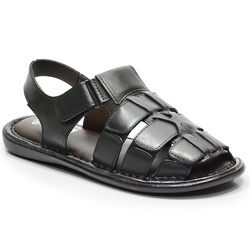 Sandália Conforto Em Couro Cor Preto-604-502 - Sapatos de Franca