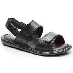Sandália Conforto Em Couro Cor Preto-605-150 - Sapatos de Franca