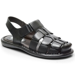 Sandália Conforto Em Couro Cor Preto-608-501 - Sapatos de Franca