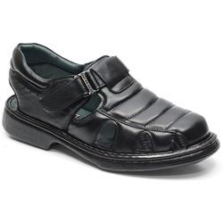 Sandália Conforto Em Couro Cor Preto Ref. 617-3010 - Sapatos de Franca