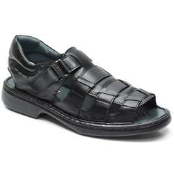 Sandália Conforto Em Couro Cor Preto Ref. 621- 301... - Sapatos de Franca